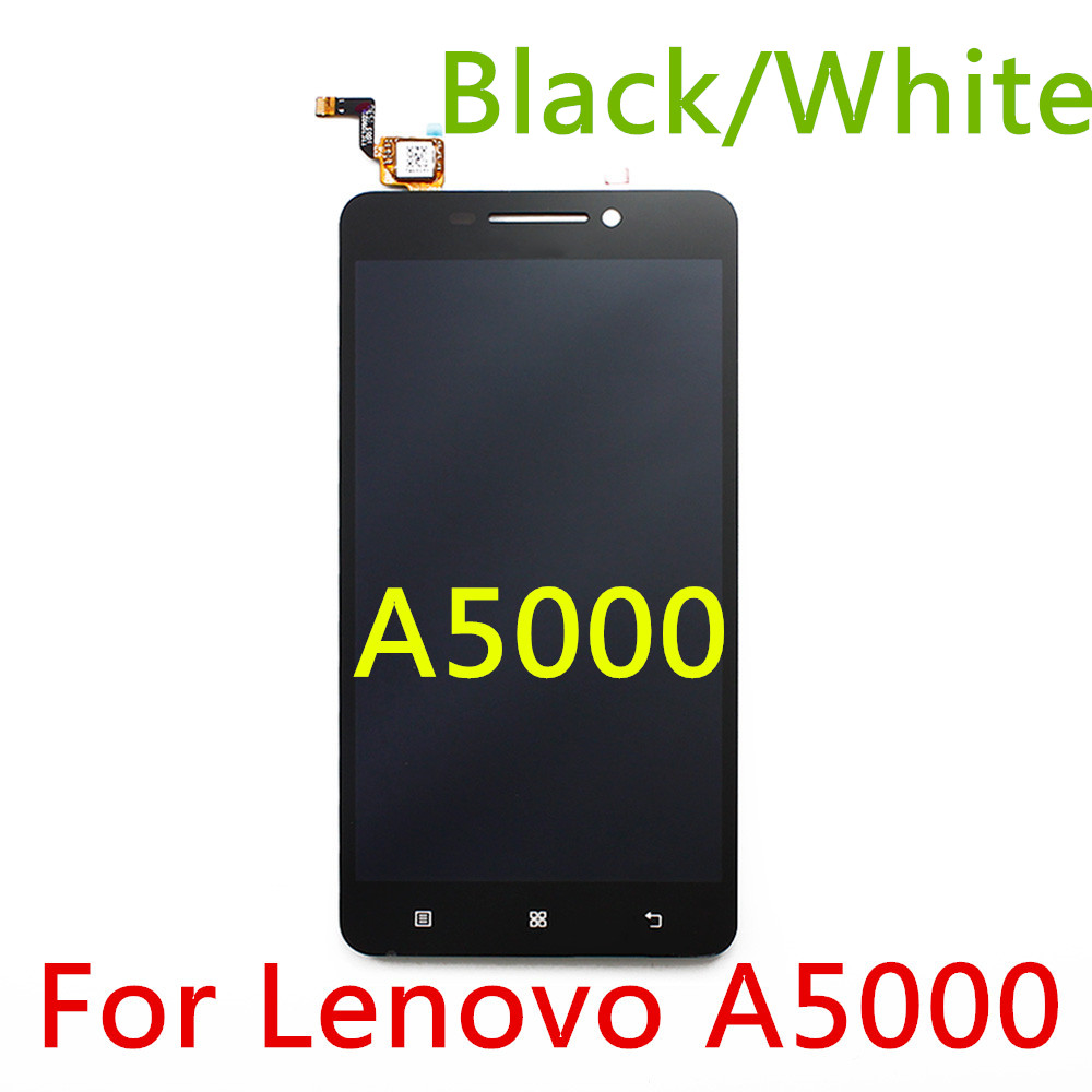 Black/White Tested 100% Original LCD Display+ Touch Screen Digitizer Assembly For Lenovo A5000 Replacement Part Panel Warranty(China (Mainland))