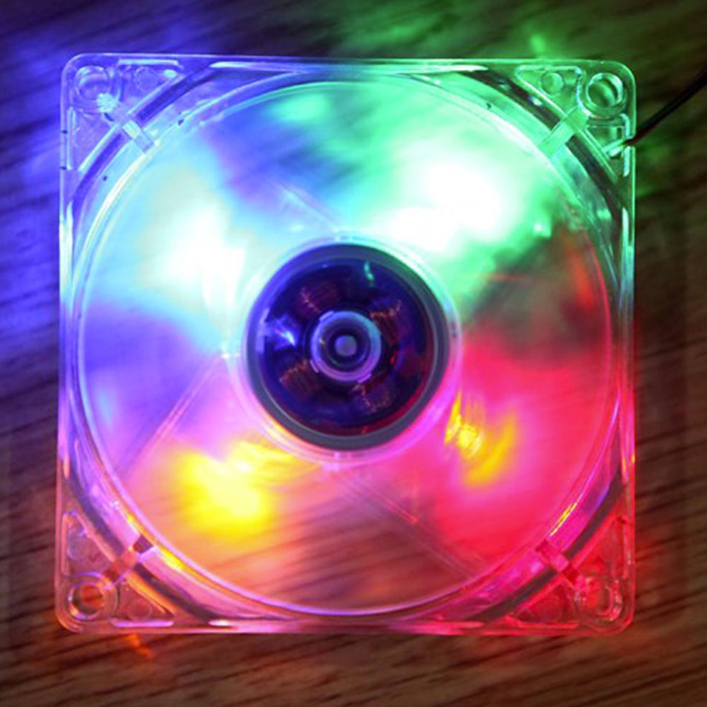 2016 New 12cm PC Computer Clear Case Quad 4 Blue/RED/Colorful LED Light 9-Blade CPU Cooling Fan 12V Wholesale<br><br>Aliexpress