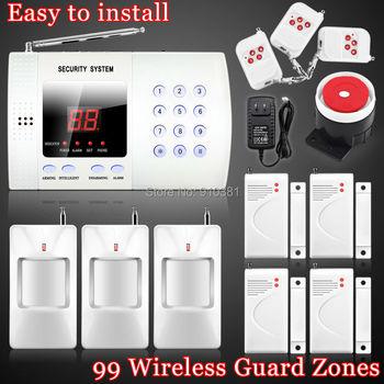 New Wireless 99 defense zones 433mhz PIR Home Security Burglar Voice Alarm System Auto Dialing Dialer Easy DIY