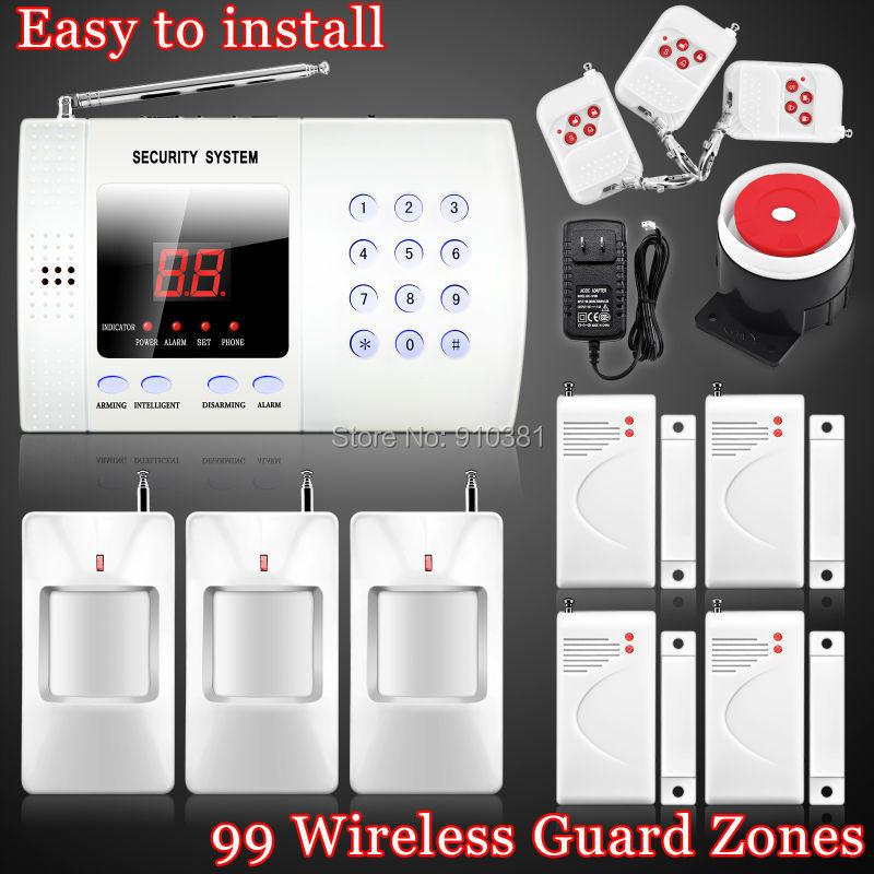 New Wireless 99 defense zones 433mhz PIR Home Security Burglar Voice Alarm System Auto Dialing Dialer Easy DIY(China (Mainland))