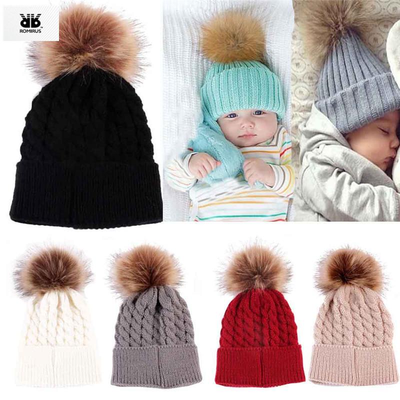 Newborn Winter Baby Girl Hat Cap Beanie, Kids Children Winter Knitted Wool Hats Caps for Girls recien nacido(China (Mainland))