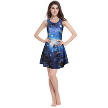 Hot Selling 3D Star Sky Blue Digital Print Summer Sexy Dress Pleated  Sweater Dress Woman Sleeveless Clothing Vestidos