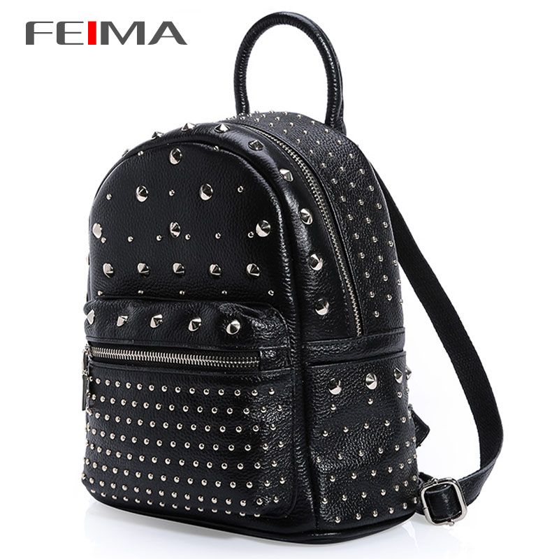 2015 New Fashion Preppy Style Rivet Womens Backpacks High Quality Genuine Leather Brief Bags Double Zipper Shoulder Girls Bag<br><br>Aliexpress