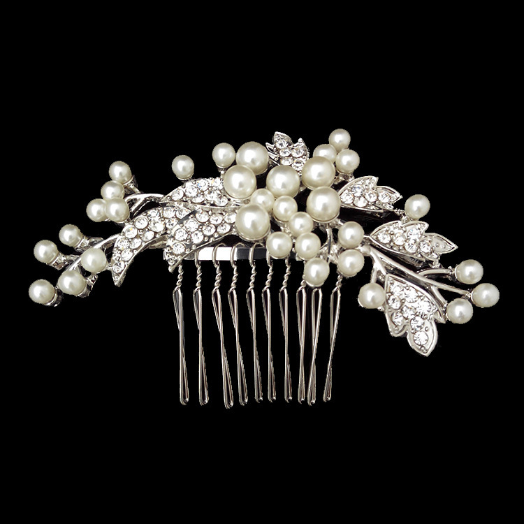 New arrival Hot sale Wedding jewelry Bridal Pearl Comb Flower Crystal Women Hair Clip Diamante XB74(China (Mainland))