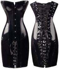 2016 Fashion push bra shape body slim pvc corset fashion sexy club dress hot red elegant black two color Free Shipping