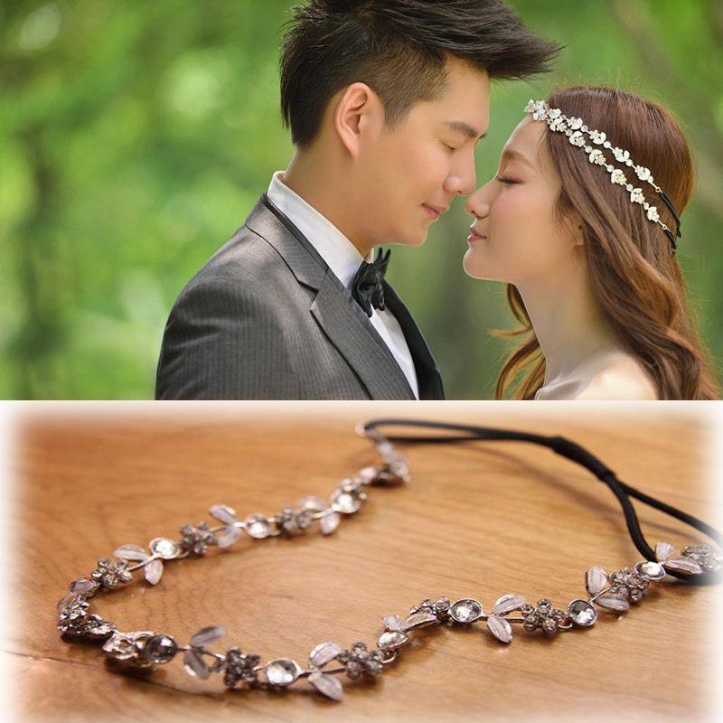 Elastic Women Fashion Metal Rhinestone Flower Headband Head Chain Hair Band Wedding Bridal Jewelry Accessories(China (Mainland))