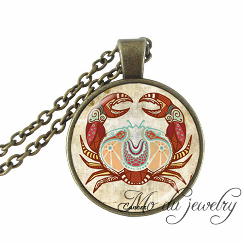 2016 Cancer Zodiac Necklace Art Picture Pendant Jewelry The Fourth Astrological Sign Cancer June July Birthday Gifts Necklaces(China (Mainland))