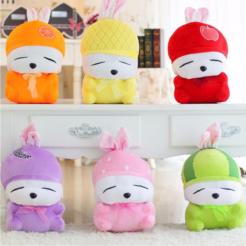 1pcs 18cm Super Cute Rabbit Plush Stuffed Toys Fruit MashiMaro Doll 6colors Children Gift Birthday Present(China (Mainland))