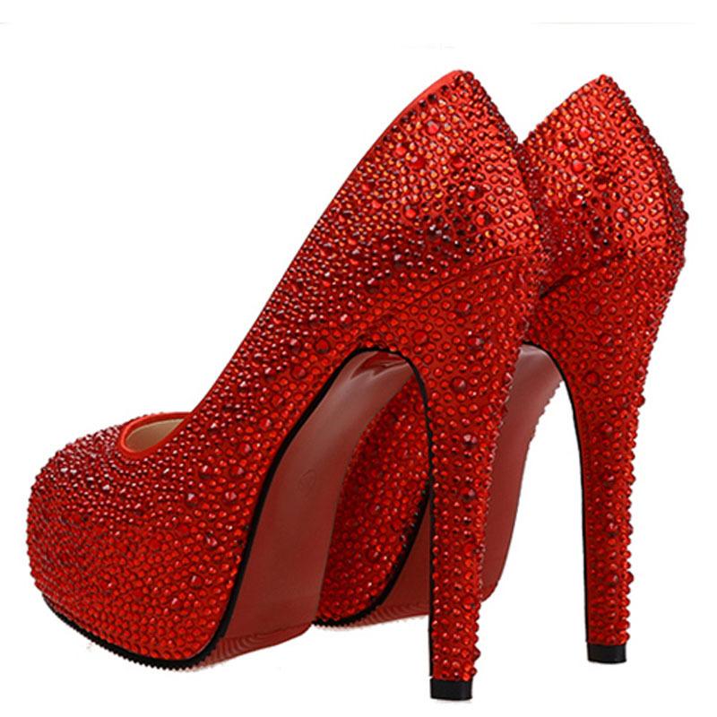 Aliexpress.com : Buy Crystal red bottom high heels Wedding Pumps ...