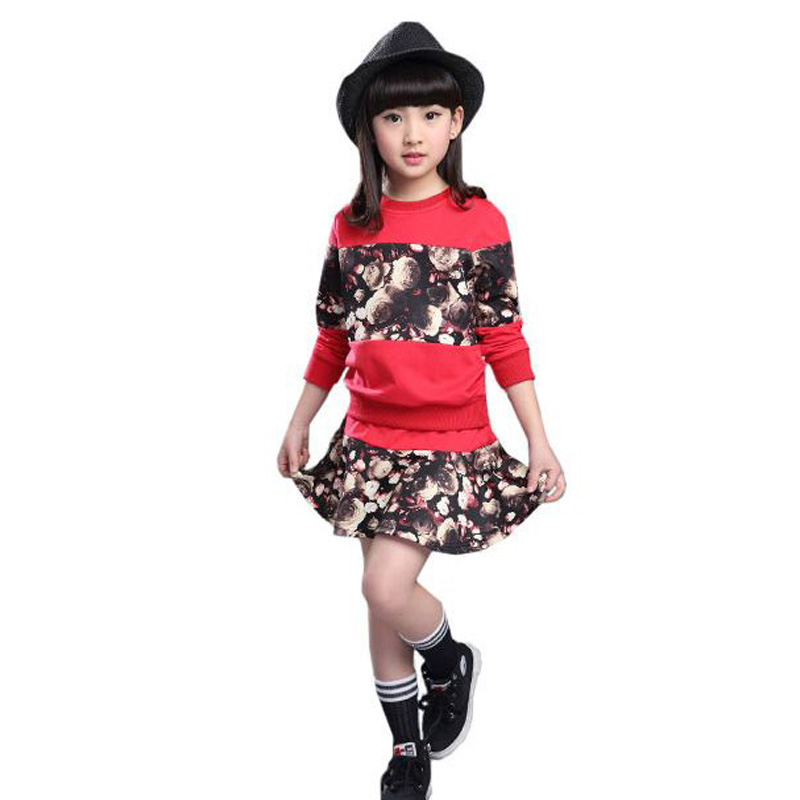 Baby Girls Winter Fall Wear Sets Girls Sport Suit Children Girls Sets Two Piece Boutique Kids Clothing Tutu Dress 12 Years Old(China (Mainland))