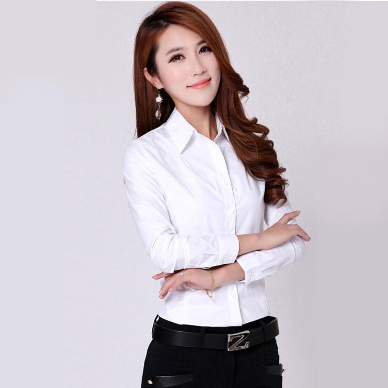 2016 Spring Women White Shirt Cotton Formal Style Women