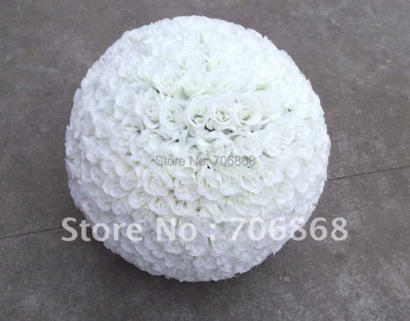6X 45cm kissing roses flower ball Free shipping pure white color artificial silk flower ball(China (Mainland))