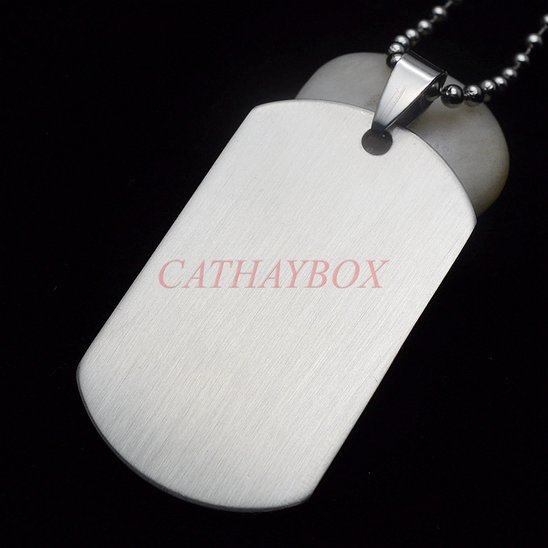 Free Shipping & 50PCS/Lot Men's Military Army Matt Silver Stainless Steel Blank Dog Tag Necklace Charm Pendant