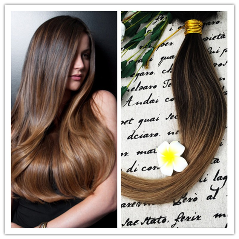 Full Shine 2016 Cheap Wholesale New Fall Fashion 100 Real Human Hair Extensions Ombre Color #2#6 Sew in Human Hair Weave