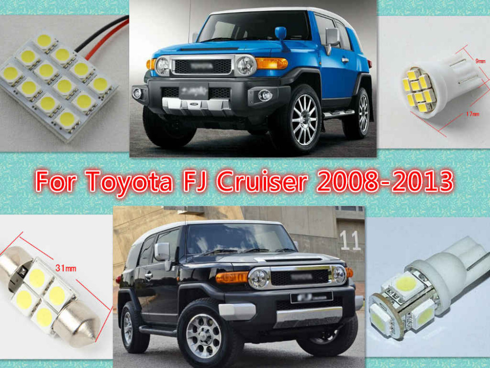 White LED interior package kit FJ Cruiser 2008-2013 Map Dome Trunk License Plate Tag Lights - MR & MISS hours store