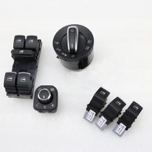 6 Pcs Chrome Auto phare interrupteur de rétroviseur bouton poussoir commutateur de fenêtre Master pour Passat B6 Tiguan Golf Jetta MK5 5ND 941 431 B
