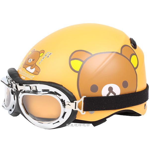 "D.37 HOT Taiwan "" HUA TAI "" ABS Vintage Motocross Half Face Scooter Motocycle Matt Orange Rilakkuma Helmet & UV Glasses Adult(China (Mainland))"