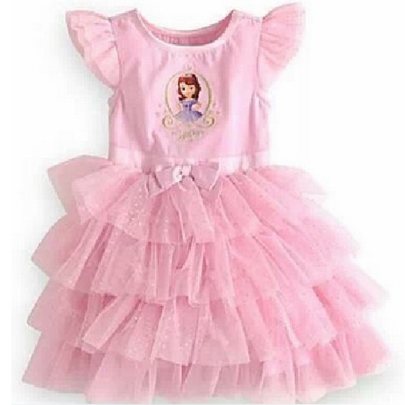 Pink Princess Sofia Dress Lace Tutus For Baby Girl Birthday Party Kids Clothes Fashion Summer