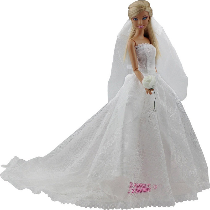 White Marriage ceremony Costume for Barbie Vogue Princess Night Social gathering Garments Wears Lengthy Costume Outfit Set for Barbie Doll with Veil