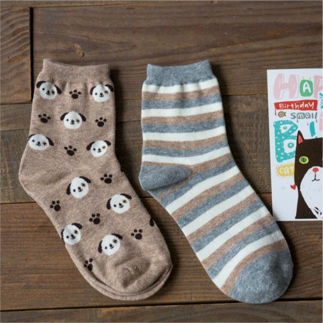 Мода марка Caramella каваи собака носки симпатичные женская животных мультфильм в трубке носки осень чистого хлопка носок для женщин
