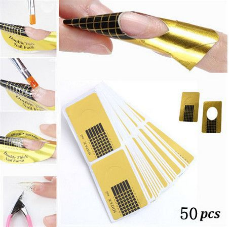 Biutee 50pcs pack Professional Nail Form Tips Nail Art Guide Form Acrylic Tip Gel Extension Sticker