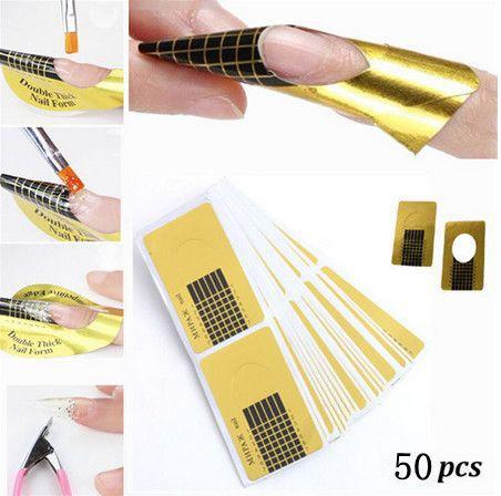 Гаджет  Christmas  50pcs/pack, Nail Art Guide Form Sticker Acrylic UV Gel Tip Extension Nail Tool Golden nail paper hoder None Красота и здоровье