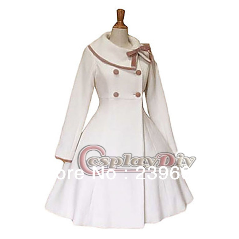 Newest Autumn And Winter Custom Made Long Sleeve Knee-length White Elegant Classic Lolita Coat CostumeОдежда и ак�е��уары<br><br><br>Aliexpress