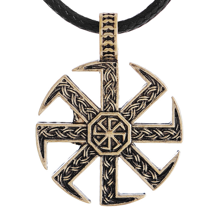 Bronze Kolovrat Pendant Necklace Slavic Kolovrat Symbol Pagan Amulet Necklace za Necklace <br><br>Aliexpress