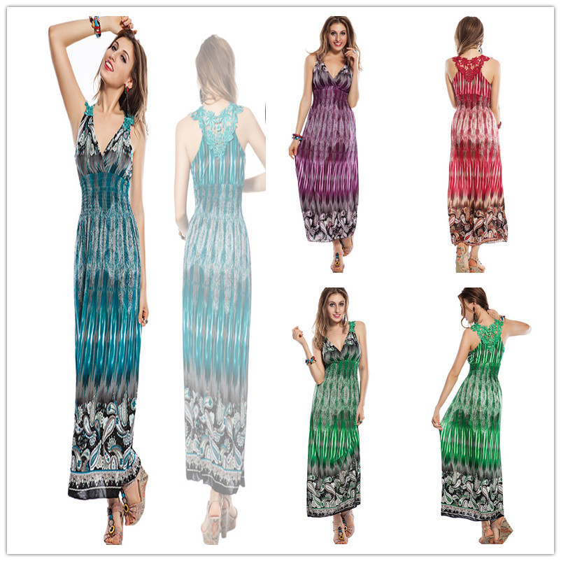 R7644 Very beautiful summer dresses for women v-neck print ankle length beach dress sexy ladies women long dress(China (Mainland))