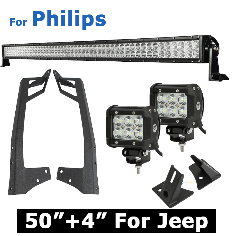 """50 inch 288W For Philips LED Offroad Light Bar + 4"""" 18W CREE Work Light + A-Pillar Mount Windshield Bracket For Jeep Wrangler(China (Mainland))"""