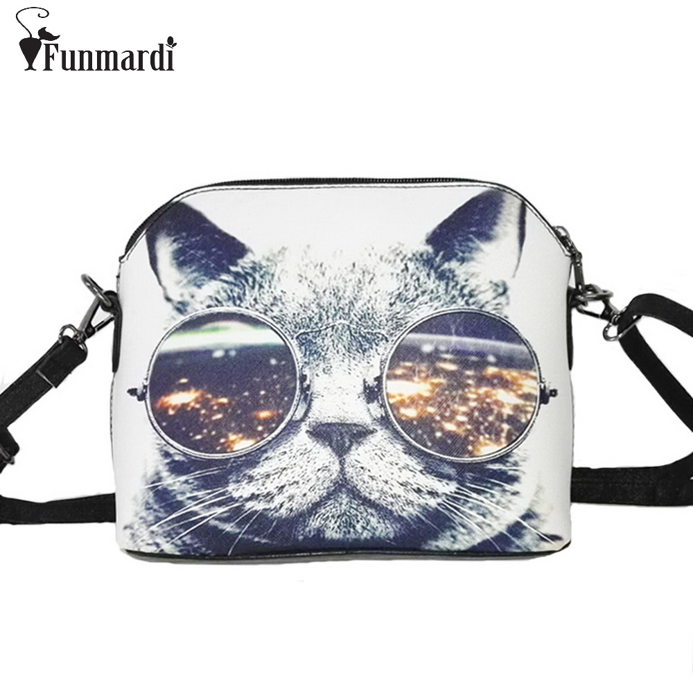 Hot sale Cats Printing women Handbags Shell bag women PU leather messenger bags new arrival women cross-body bags WLHB1116(China (Mainland))