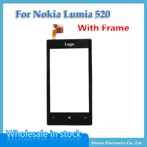 OEM Front Panel & Touch Screen Digitizer for Nokia Lumia 520 LCD Display Replacement touch with Frame Free Shipping