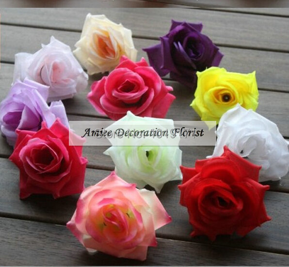 New Prom Fabric 7-8.5 cm Wedding Decoration 50 PCS Artificial Silk Rose Decorative Flower Head Pink Green Purple F397(China (Mainland))