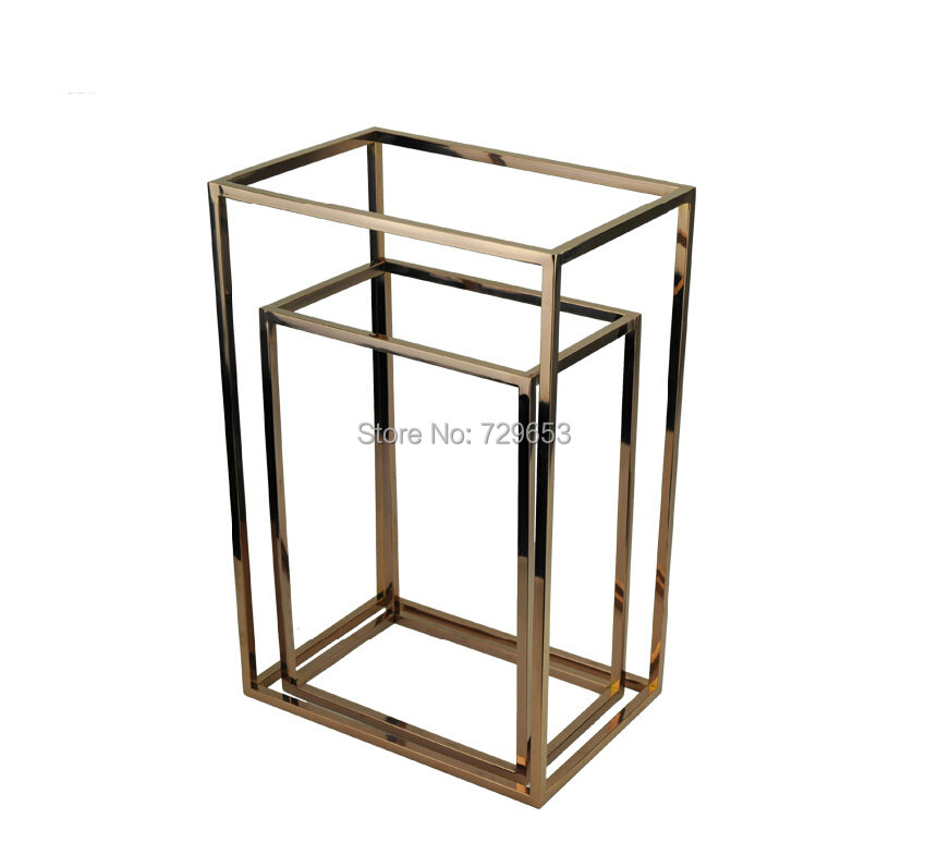 2pcs Fashion Multi-function Rose Gold Metal Shoe Display Stand Stainless Steel Tie Stand Shoes Holder Shoe Display Stand(China (Mainland))