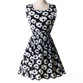 S to XXL women s Cute Empire Floral Chiffon summer large size slim waist Mini Dress