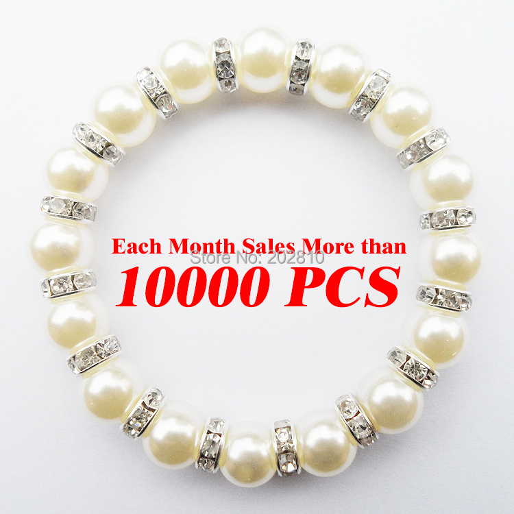 Jewelry factory wholesale sales trendy women white Pearl(10mm) rope chain strand bracelet & bangle 2015 fine quality(China (Mainland))