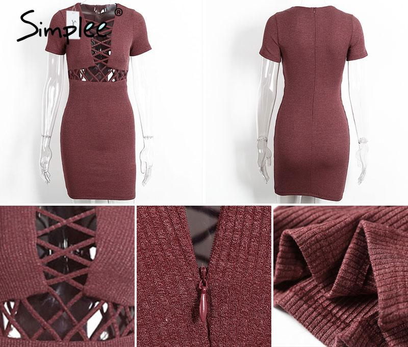 Simplee Autumn winter knitted lace up dress women Sexy red bodycon dress vestidos Elegant party short sleeve girls dress 2016 25