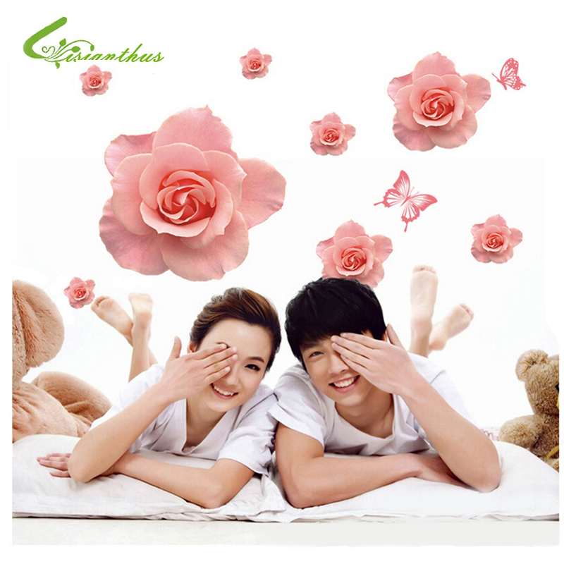 Big Pink Roses Flowers PVC Wall Stickers Home Decor DIY Living Room Sofa 3D Design Art Decals House Decoration Wallpaper(China (Mainland))
