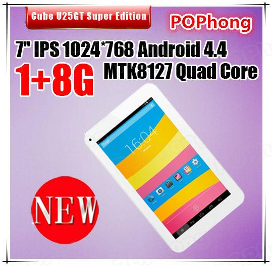 J Original CUBE U25GT Super Edition MTK8127 Quad Core Tablet PC 7.0 Inch 1024x600 1GB RAM 8GB ROM GPS HDMI(China (Mainland))