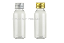 30ml transparent round shoulder plastic PET bottle ,toilet water bottle,lotion bottle with silver/gold aluminum lid