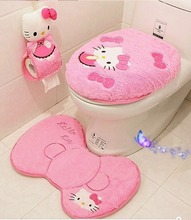 Hello kitty bathroom set toilet set cover wc seat cover bath mat holder closestool lid cover free shipping 4pcs/set(China (Mainland))