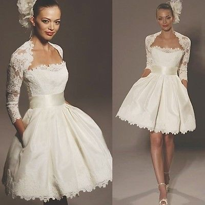 Newest Custom Made A Line Neckline Knee Length Lace Satin Long Sleeve Short Wedding Dresses 2 pics set Bridal Gowns 2014(China (Mainland))