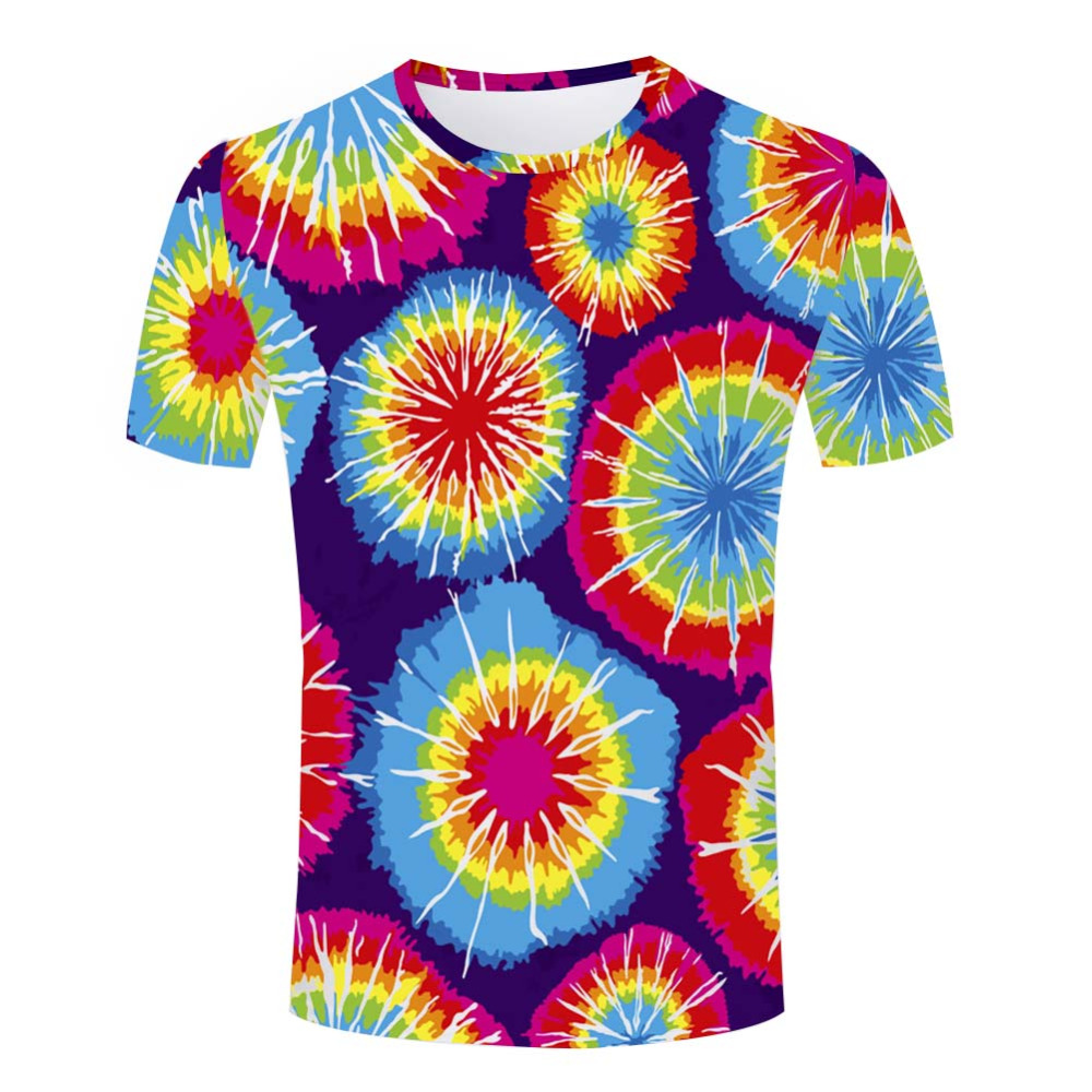 Gradient Color T Shirt Men Circinate Tie Dye 3d Printed Streetwear Fashion Skate Crossfit T-shirt Homme Rock Tops Brand Clothing(China (Mainland))