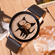 New Fashion Geneva High Quality Brand Watches Cute Cat Leather Watch Quartz Wristwatches as gift for