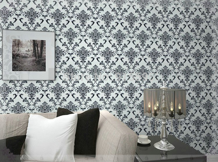 Pvc glitter black silver damask wallpaper background wall for Silver wallpaper living room