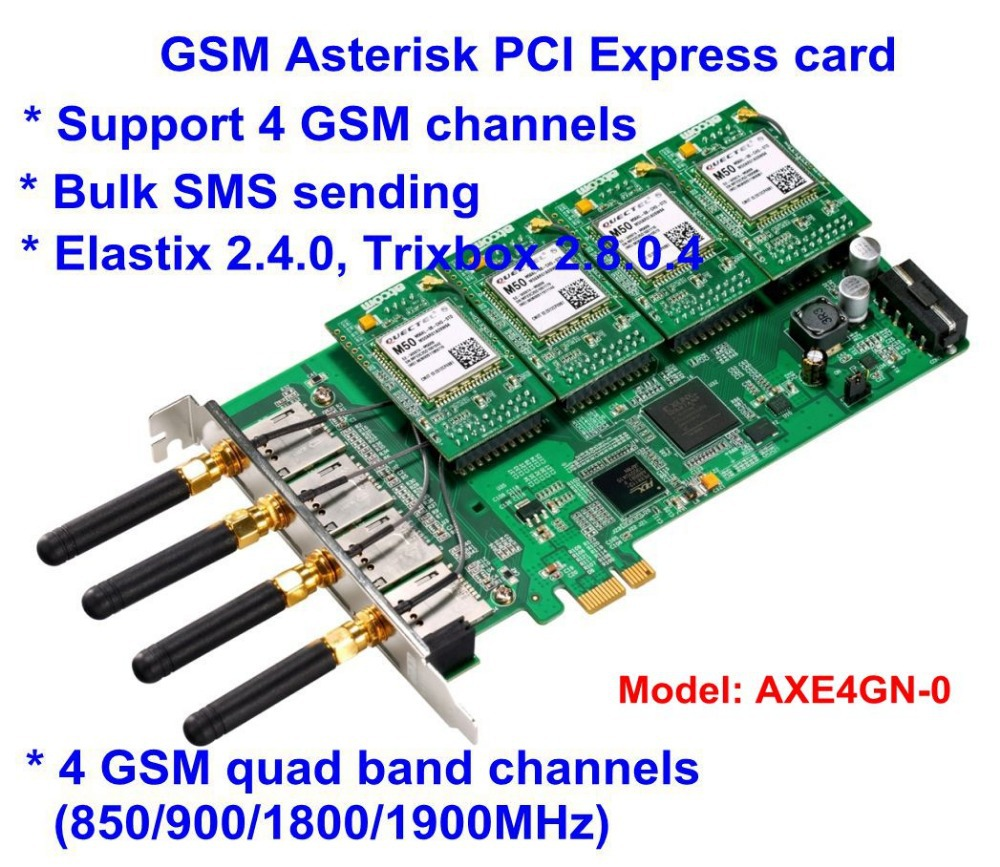 AXE4GN -0 Base GSM GPRS Cell Asterisk PCI Express Card only 0 SIM Modules w 0 Antenna Work with Asterisk IP PBX(China (Mainland))
