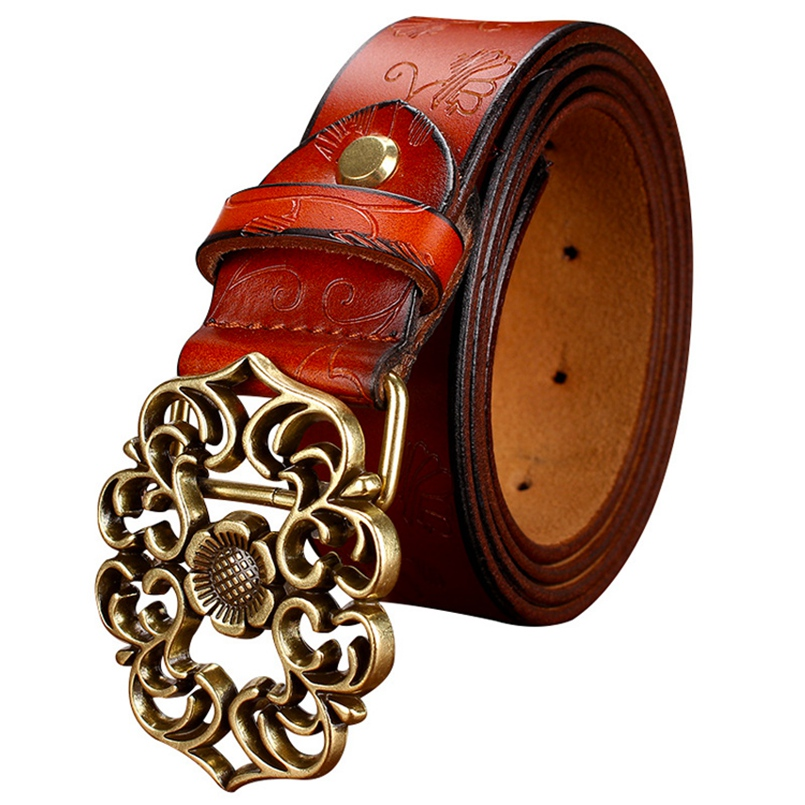 Hot New Vintage Belt Woman Genuine Leather Cow skin strap Fashion Floral Buckle Belts For Women Top Quality jeans girdle(China (Mainland))