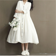 2016 New Spring Summer Mori Girl Vintage Elegant Dress For Women S~3XL Cotton and Line Bat Sleeve Maxi Long Dress LJ3836