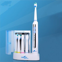 Rechargable Sonic Ultrasonic Electric Toothbrush for Adults 4 brush heads Uv sterilizer Waterproof IP7 220V-240V Seago SG-908(China (Mainland))