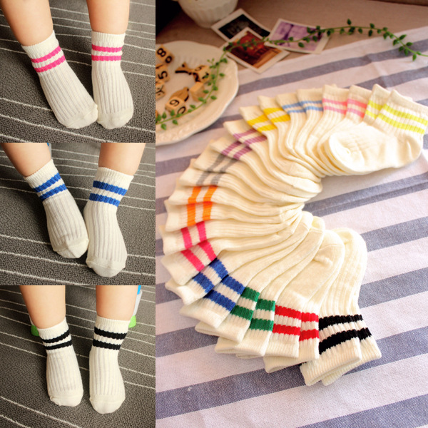Playful children socks wholesale thin cotton socks cute Korean all-match parallel bars two bars of cotton socks(China (Mainland))
